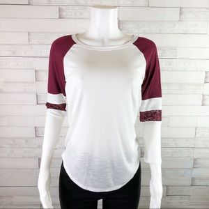 American Rag Long Sleeve Lace Inset Baseball Top
